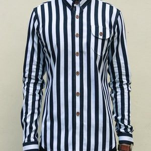 Nautical Stitch-down Collar Shirt (Black)