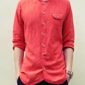 Collarless Curve-hem Shirt (Orange)