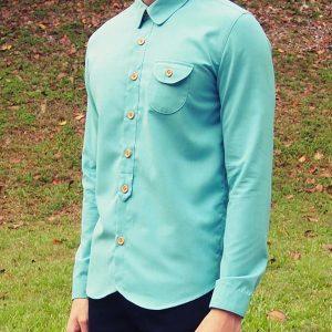 Curve Collar Shirt (Turquoise)