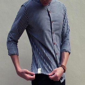 Grandad Collar Shirt in Thin stripe (Black)