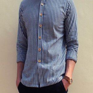 Grandad Collar Shirt in Thin stripe (Dark Blue)