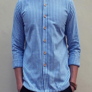 Grandad Collar Shirt in Thin stripe (Light Blue)