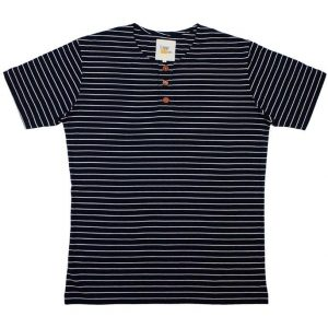 Navy Blue Button Tee in Stripes (Dark Brown Button)