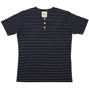 Navy Blue Button Tee in Stripes (Light Brown Button)