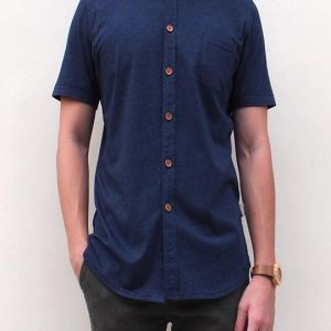 Pima Cotton Short-Sleeve Button Shirt (Navy Blue)