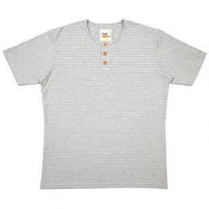 Button Tee in Stripes (White/Lt Grey)