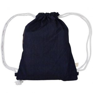 Denim Drawstring Bag (Dark Blue)