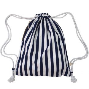 Drawstring Bag in Nautical Stripes (Blue)